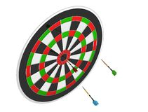 3D render of three darts and board Royalty Free Stock Image
