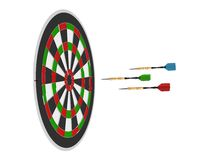3D render of three darts and board Royalty Free Stock Images