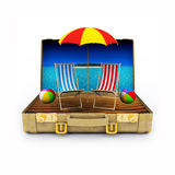 3D render of Travel Suitcase Royalty Free Stock Photos