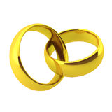 3d render of two golden wedding rings. On white Stock Images