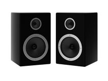 3d render of two speakers. On white Stock Photo