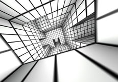 3d render white tiled labyrinth Royalty Free Stock Photo