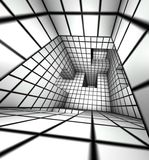 3d render white tiled labyrinth Royalty Free Stock Images
