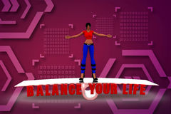 3d render of women on scale with text balance your life Royalty Free Stock Photo
