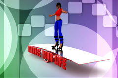 3d render of women on scale with text balance your life Stock Photography