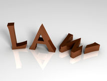 3D Render of the word Law Stock Photography