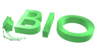 3D rendered Bio-logo. Isolated on white background with small house Stock Photo