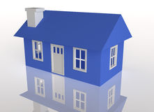 3D Rendered Blue house. On a white reflective background Royalty Free Stock Photography
