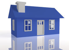 3D Rendered Blue house. On a white reflective background Stock Photography
