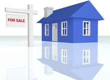 3D rendered Blue house with realator sign. On a white reflective background Royalty Free Stock Photo
