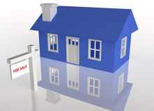 3D rendered Blue house with realator sign. On a white reflective background Royalty Free Stock Photography