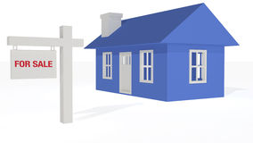 3D rendered Blue housefor sale. 3D rendered Blue house with for sale sign on a white background Stock Photo