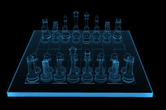 3D rendered blue xray chess Stock Photography