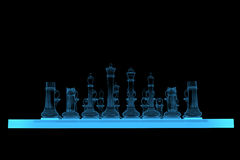 3D rendered blue xray chess Royalty Free Stock Image