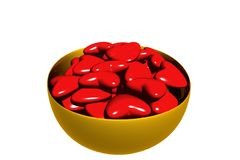 3D Rendered Bowl of Valentine Hearts. Isolated on white Royalty Free Stock Photo