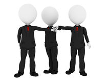 3d rendered business people. In uniform putting hands together all for one - Business team union concept - Image on white background with soft shadows Royalty Free Stock Photo