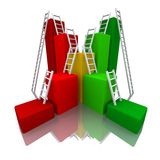 3D rendered color bar graph with ladder. S Stock Photos