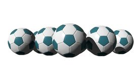 3D rendered cyan soccer balls Royalty Free Stock Photo