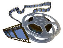 3d rendered film reel. Spooling from its case Royalty Free Stock Images
