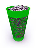 3D rendered  full recycle bin. 3D rendered green  full recycle bin Stock Images