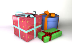 A 3D rendered gift. Three colored gifts isolated on white background Royalty Free Stock Images