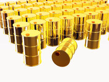 3D rendered gold oil barrels Royalty Free Stock Images
