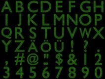 3D rendered grass-letters-alphabet. 3D rendered alphabetical letters made of grass - capital letters stock illustration