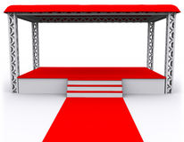 3D rendered Isolated empty Stage. 3D rendered Red Isolated empty Stage Stock Images