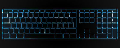 3D rendered keyboard. In black background Royalty Free Stock Photo