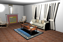 3D rendered living room. 3D rendering of a living room Royalty Free Stock Photos