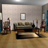 3D rendered living room. 3D rendering of a living room Royalty Free Stock Images