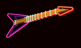 3d rendered modern guitar as neon lamp Royalty Free Stock Photography