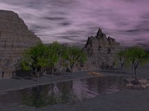 3d Rendered Night Desert Lake Royalty Free Stock Photography