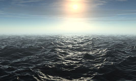 3D rendered Ocean. With Sun Stock Photos