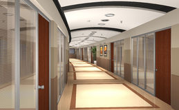 3D rendered office hallway Stock Photos