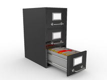 3D rendered open file drawer with documents Stock Photo
