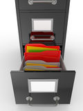3D rendered open file drawer with documents Royalty Free Stock Images
