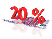 3d rendered percentage on euro banknote. 3d rendered 20 % percentage on euro banknote stock illustration