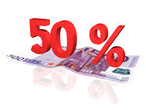3d rendered percentage on euro banknote. 3d rendered 50 % percentage on euro banknote royalty free illustration