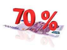 3d rendered percentage on euro banknote Stock Photos