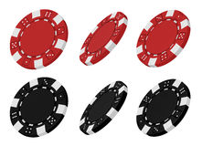 3d rendered red and black casino chips. Realistic 3d rendered collection of red and black casino chips from different angles isolated on white background Stock Photo