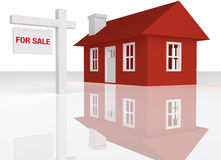 3D rendered Red house with realator sign. On a white reflective background Stock Image