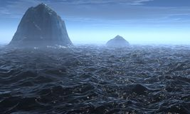 3D rendered Seascape. With Ice berg Royalty Free Stock Images
