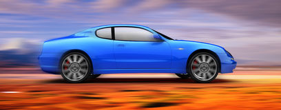 3D rendered Sports Car moving fast. Profile of a fast moving blue sports car on a colorful background Stock Images