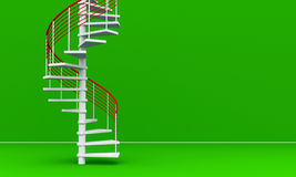 3D rendered Stairs. 3D rendered modern Stairs in front of empty green wall Royalty Free Stock Images