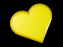 3d rendered stylized image of heart isolated. 3d rendered stylized image of yellow pearl heart isolated on black Stock Image