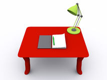 3D rendered  table. With notebook and lamp Royalty Free Stock Photography
