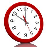 3D rendered  wall clock. 3D rendered  wall red clock Stock Photography