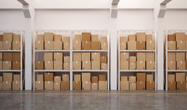 3d rendered warehouse with many stacked boxes on pallets Royalty Free Stock Photos