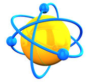3D rendered yellow atom structure with. 3D rendered yellow reflective atom structure with blue orbitals on white Royalty Free Stock Photo